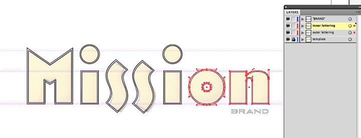 mission lettering Illustrator paths