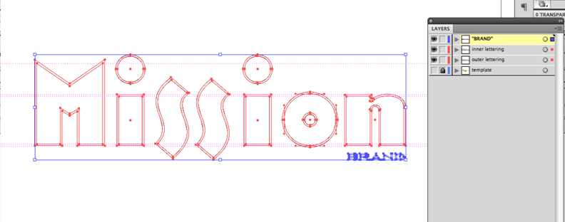 mission lettering paths in Photoshop