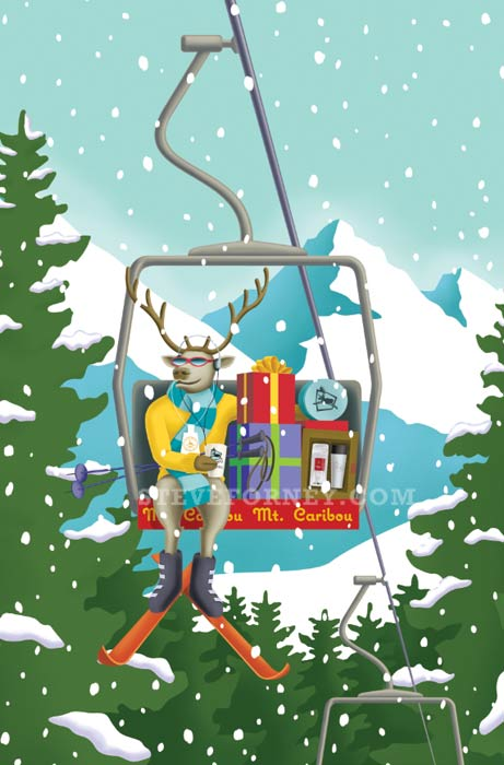 caribou in a ski lift