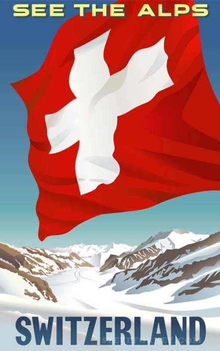 swiss flag in alps