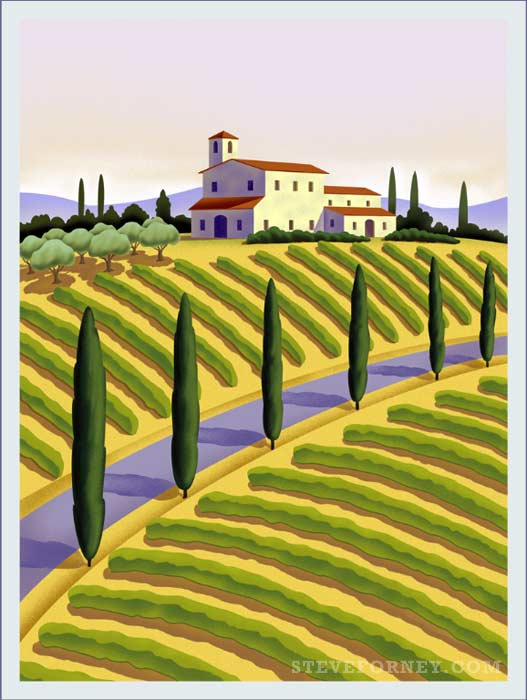 tuscan countryside illustration