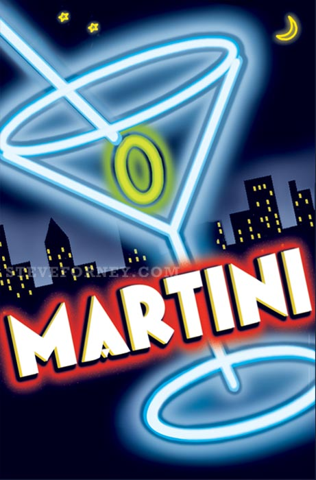neon martini glass